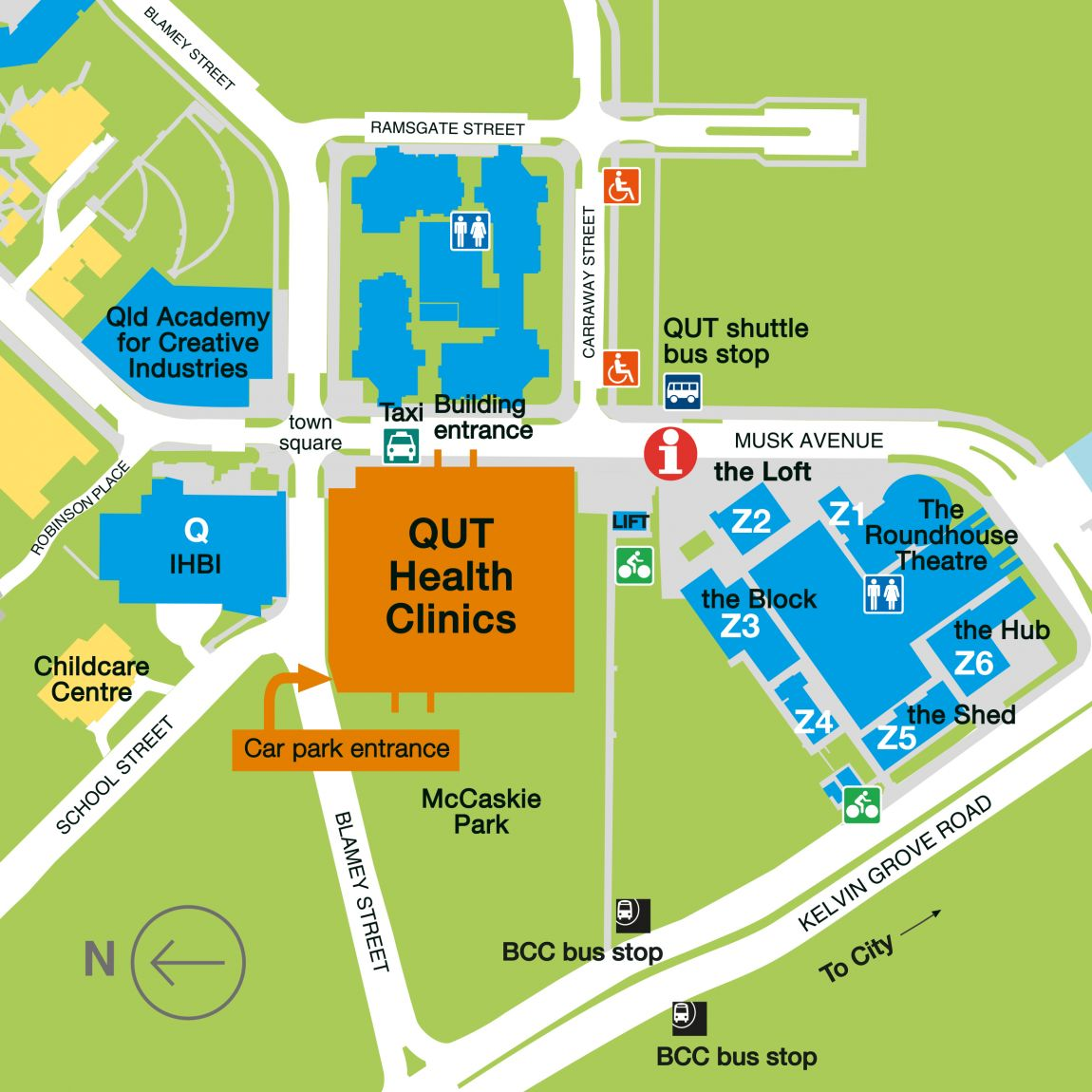 QUT Health Clinics Navigational Map